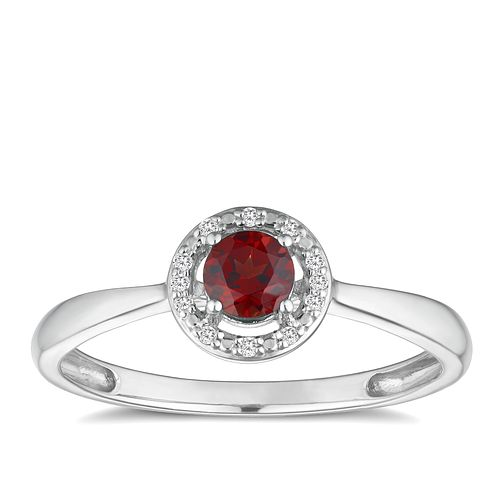 Silver 925 Rhodium Plated Garnet & 0.03ct Diamond Ring - Product number 9558721