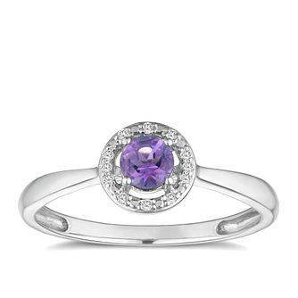 Sterling Silver Rhodium Plated Amethyst & Diamond Ring - Product number 9558985