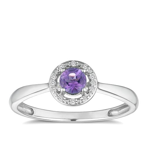 Silver 925 Rhodium Plated Amethyst & 0.03ct Diamond Ring - Product number 9558985