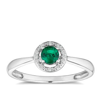 Sterling Silver & Rhodium Created Emerald & Diamond Ring - Product number 9559205
