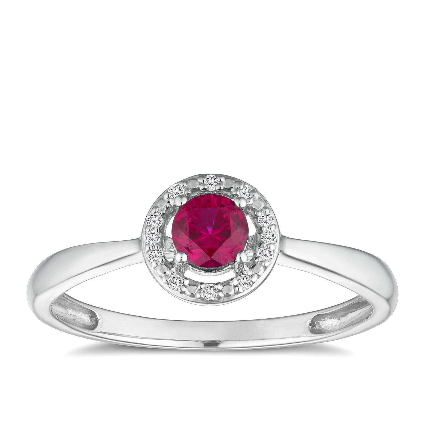 Silver 925 Rhodium Created Ruby & 0.03ct Diamond Ring - Product number 9559442