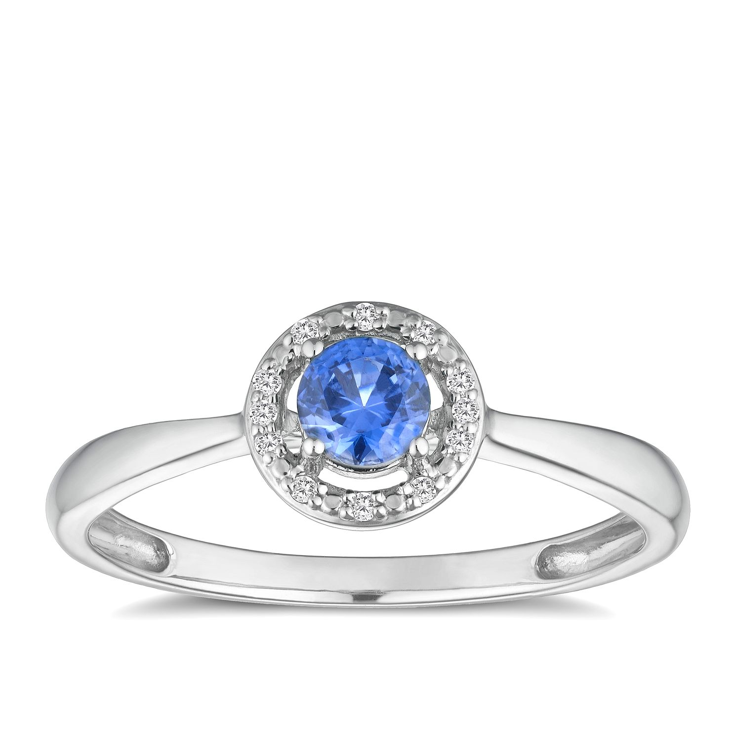 Silver Rhodium Plated Created Tanzanite & Diamond Ring - Product number 9559590