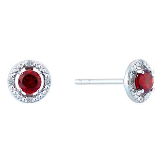 Silver Rhodium Plated Garnet & 0.02ct Diamond Earrings - Product number 9559906
