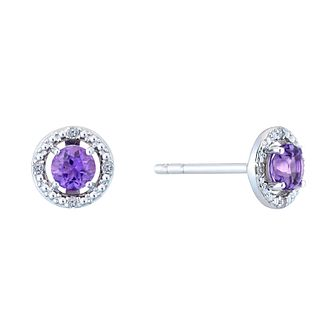 Sterling Silver & Rhodium Amethyst & Diamond Earrings - Product number 9559914