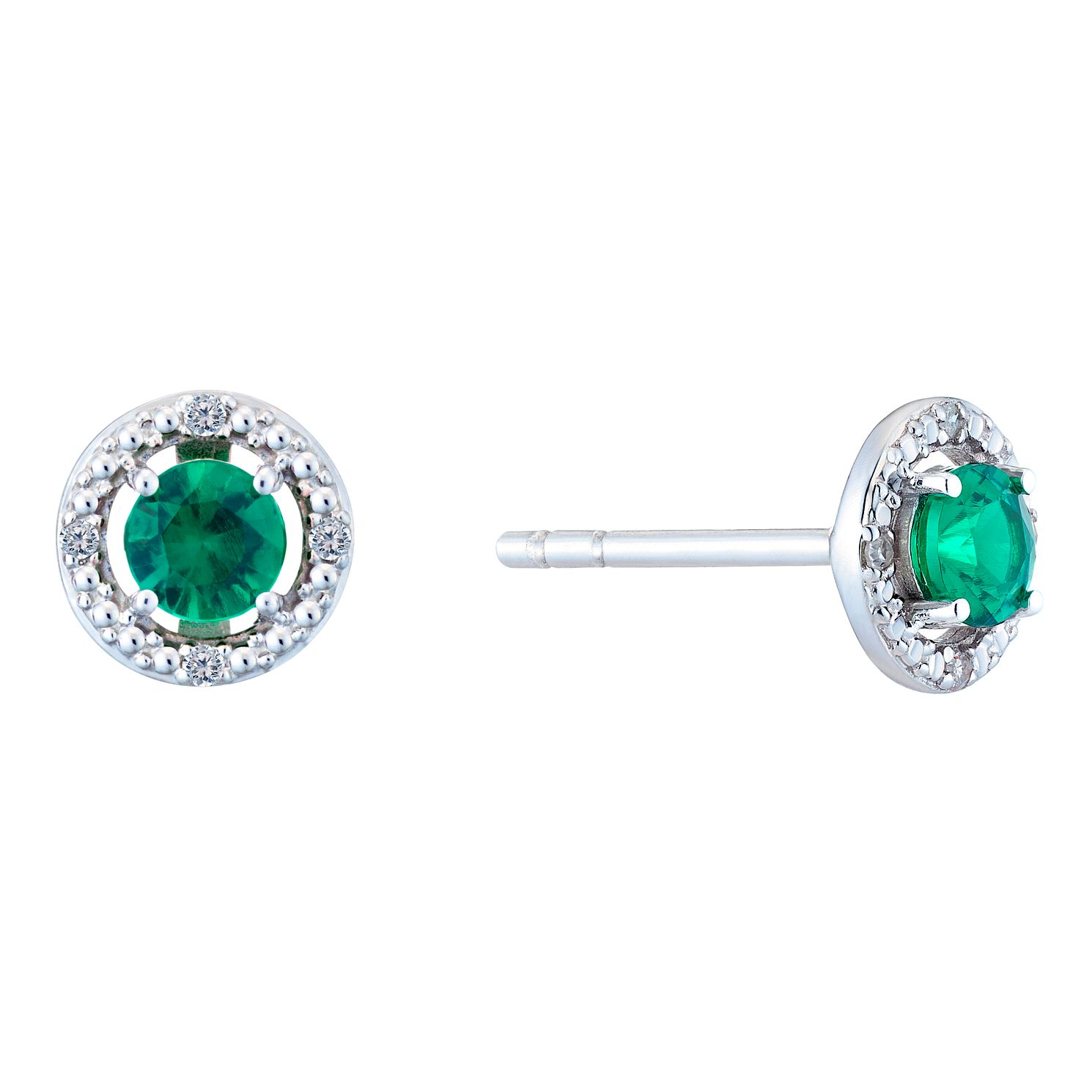 Silver Rhodium Created Emerald & 0.02ct Diamond Earrings - Product number 9559922