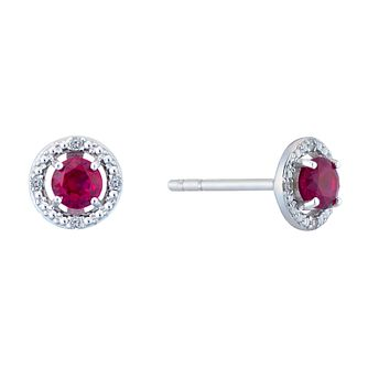 Sterling Silver & Rhodium Created Ruby & Diamond Earrings - Product number 9559957