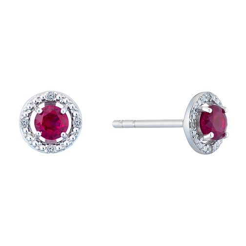 Silver 925 Rhodium Created Ruby & 0.02ct Diamond Earrings - Product number 9559957