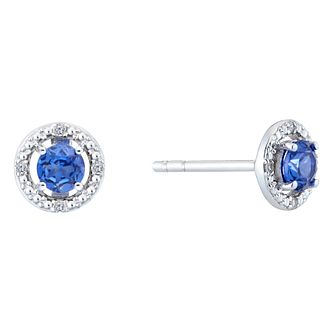Silver & Rhodium Created Tanzanite & Diamond Earrings - Product number 9559973