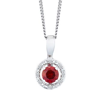 Silver 925 Rhodium Plated Garnet & 0.02ct Diamond Pendant - Product number 9559981
