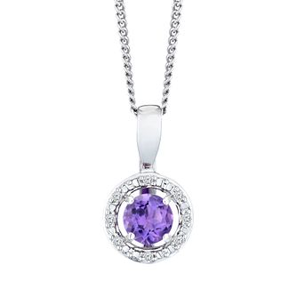 Sterling Silver & Rhodium Plated Amethyst & Diamond Pendant - Product number 9560009