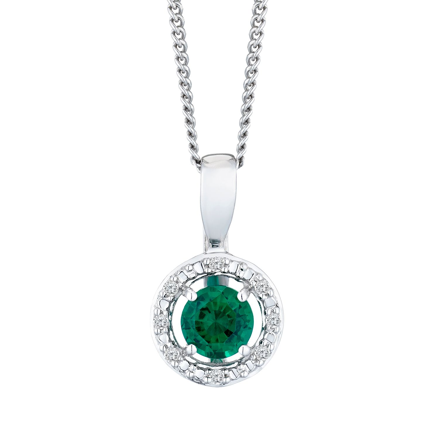 Silver 925 Rhodium Created Emerald & 0.02ct Diamond Pendant - Product number 9560017
