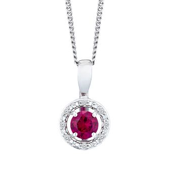 Silver 925 Rhodium Created Ruby & 0.02ct Diamond Pendant - Product number 9560033