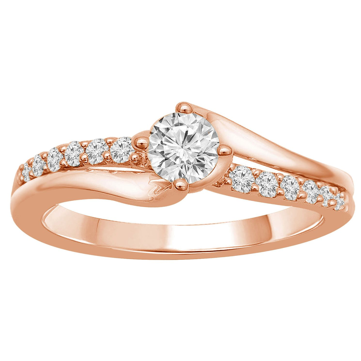 18ct Rose Gold 1/2ct Diamond Solitaire Twist Ring - Product number 9560084