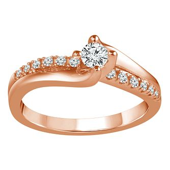 18ct Rose Gold 1/4ct Diamond Solitaire Twist Ring - Product number 9560475