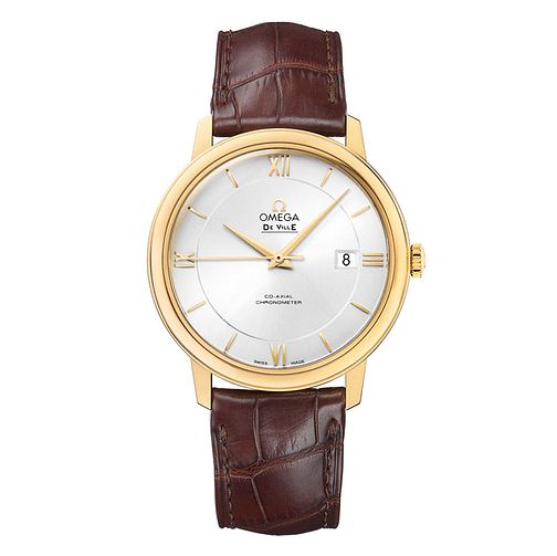 Omega De Ville Prestige Men's 18ct gold brown strap watch - Product number 9561455