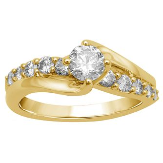 18ct Yellow Gold 1ct Diamond Solitaire Twist Ring - Product number 9561803