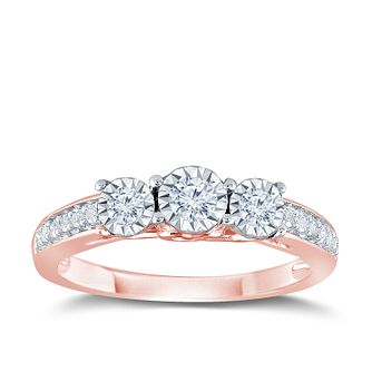 9ct Rose Gold 1/4ct Illusion Set 3 Stone Diamond Ring - Product number 9562168