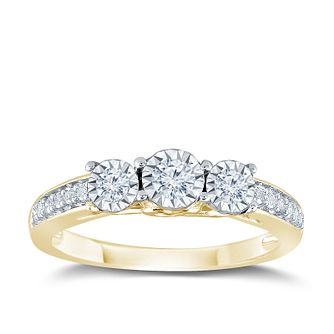 9ct Yellow Gold 1/4ct Illusion Set 3 Stone Diamond Ring - Product number 9562559
