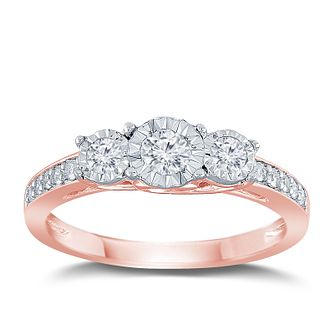 9ct Rose Gold 1/3ct Diamond 3 Stone Illusion Set Ring - Product number 9562842