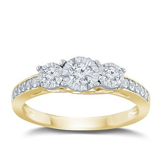 9ct Yellow Gold 1/3ct Diamond 3 Stone Illusion Set Ring - Product number 9563156