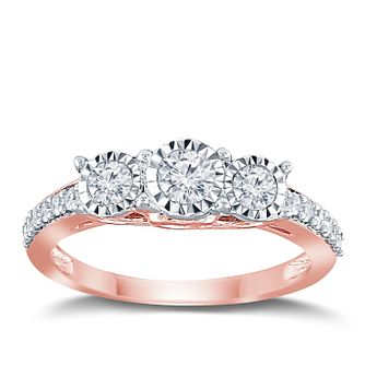 9ct Rose Gold 1/2ct Diamond 3 Stone Illusion Set Ring - Product number 9563326