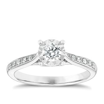 9ct White Gold 1/4ct Diamond Ring - Product number 9568387