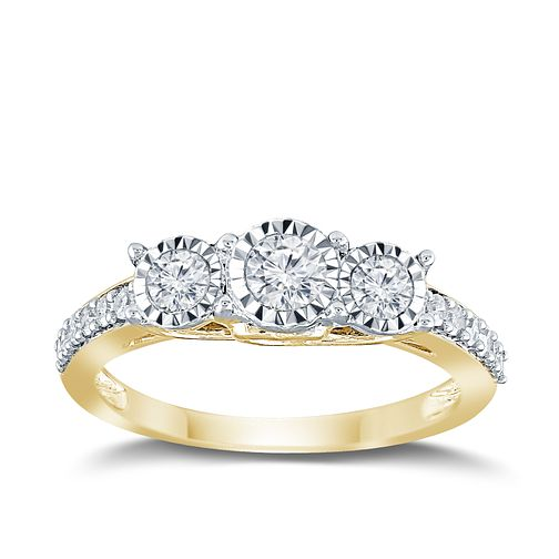 9ct Yellow Gold 1/2ct Diamond 3 Stone Illusion Set Ring - Product number 9570608