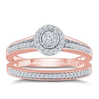 9ct Rose Gold 1/4ct Round Diamond Halo Bridal Set - Product number 9571280