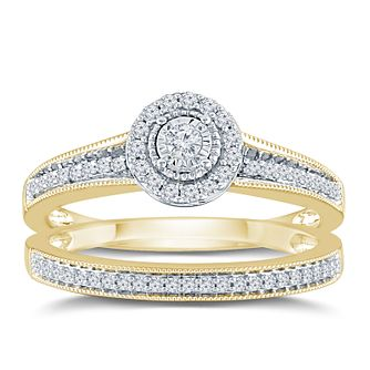 9ct Yellow Gold 1/4ct Round Diamond Halo Bridal Set - Product number 9571698