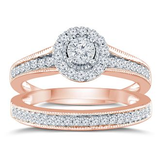 9ct Rose Gold 1/2ct Round Diamond Halo Bridal Set - Product number 9572015