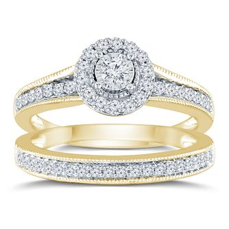 9ct Yellow Gold 1/2ct Round Diamond Halo Bridal Set - Product number 9572481