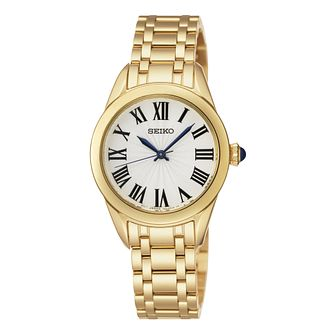 Seiko Ladies' White Dial Gold Plated Bracelet Watch - Product number 9572619