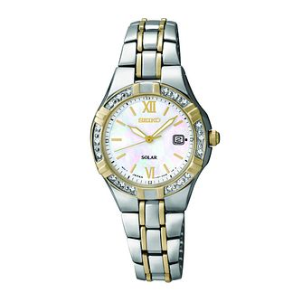 Seiko Solar Ladies' Diamond Set Two Colour Bracelet Watch - Product number 9573240