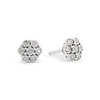 Sterling Silver 0.10ct Diamond Flower Cluster Stud Earrings - Product number 9574964