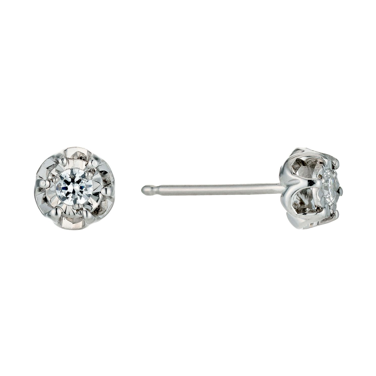 9ct White Gold Diamond Flower Stud Earrings - Product number 9575006