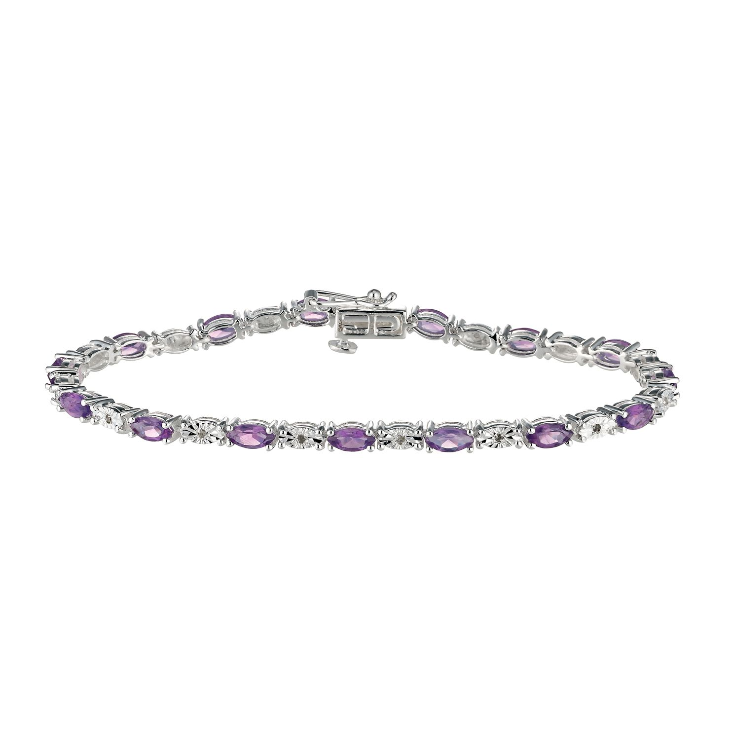 Sterling Silver Diamond & Amethyst Bracelet - Product number 9575367