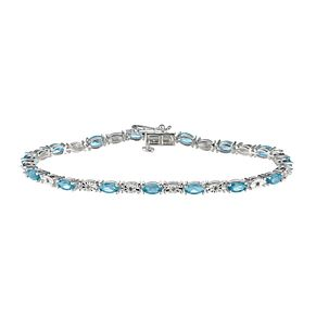 Sterling Silver Diamond & Blue Topaz Bracelet - Product number 9575375
