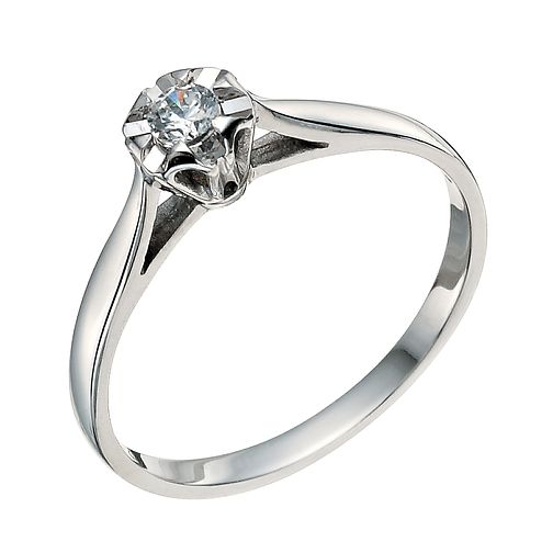 9ct White Gold Diamond Solitaire Ring - Product number 9579087