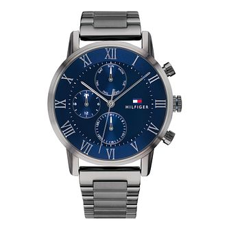 Tommy Hilfiger Men's Grey IP Blue Dial Bracelet Watch - Product number 9580417