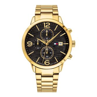 Tommy Hilfiger Men's Gold Tone Black Dial Chronograph Watch - Product number 9580425
