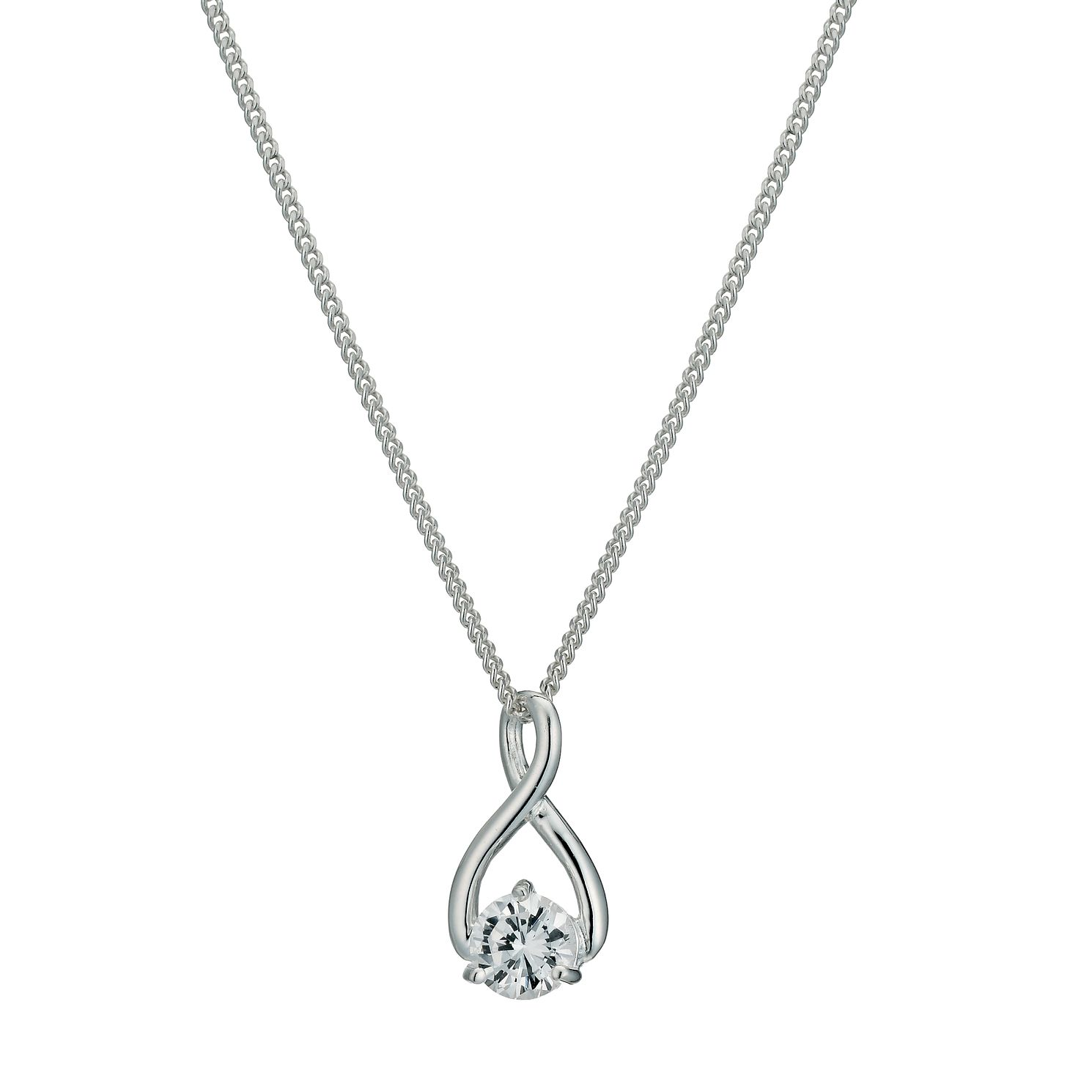 Silver Figure of 8 Cubic Zirconia Pendant - Product number 9592466