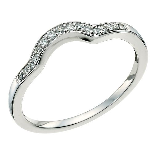 18ct White Gold Diamond Shaped Band - Product number 9597395