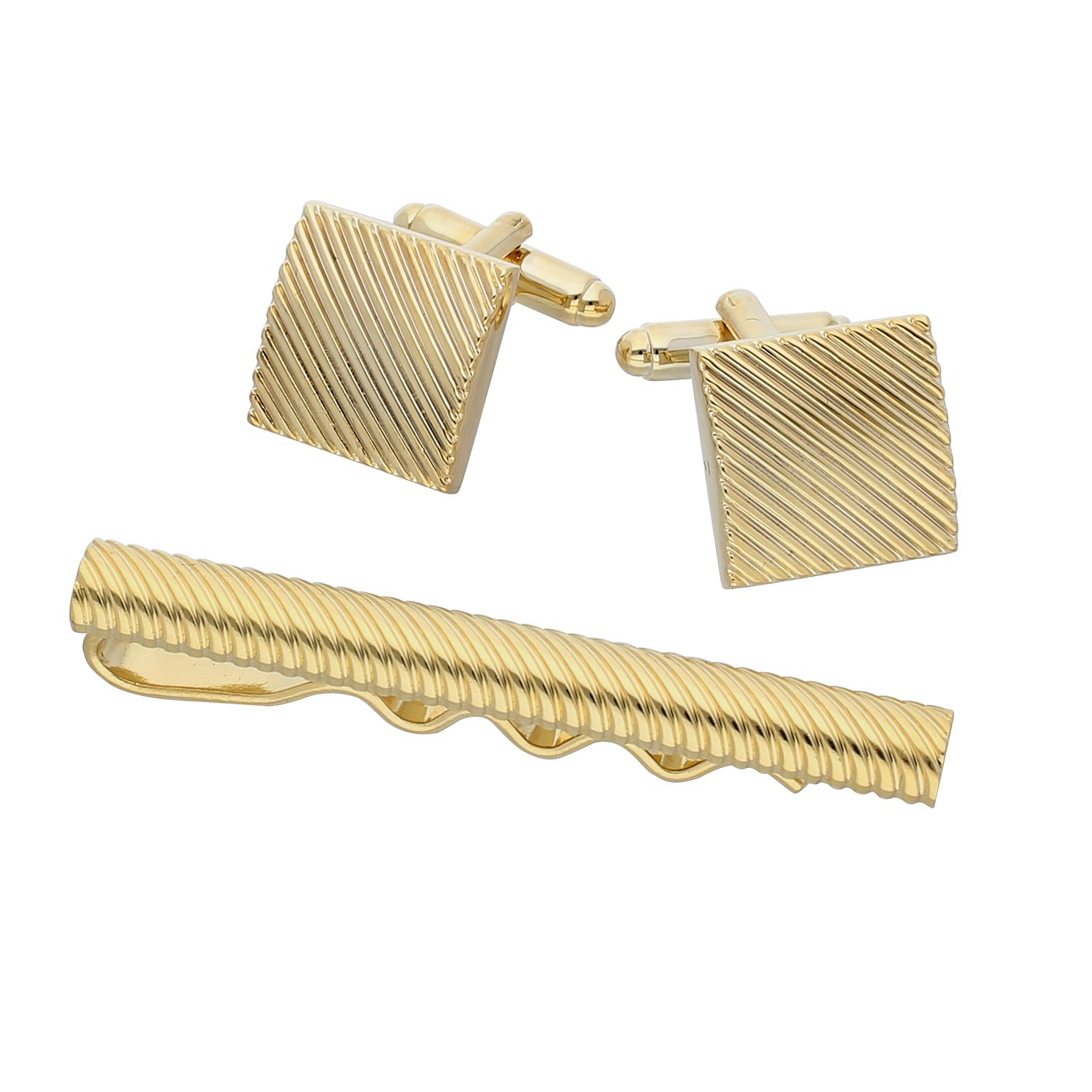 Gold cufflinks and tie clip set - Product number 9598987