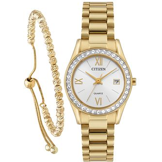 Citizen Ladies Quartz White Dial Watch and Bracelet Set - Product number  9600469 a08fa4467