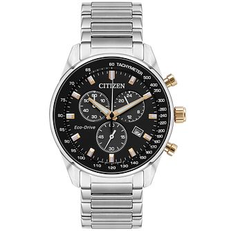 Citizen Eco-Drive Men's Stainless Steel Black Dial Watch - Product number 9600590