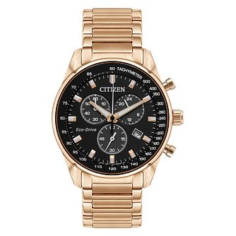 Citizen Men's Eco-Drive Rose Gold Tone Bracelet Watch - Product number 9600604
