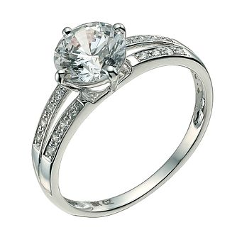 9ct white Gold and Cubic Zirconia Solitaire Ring - Product number 9606998