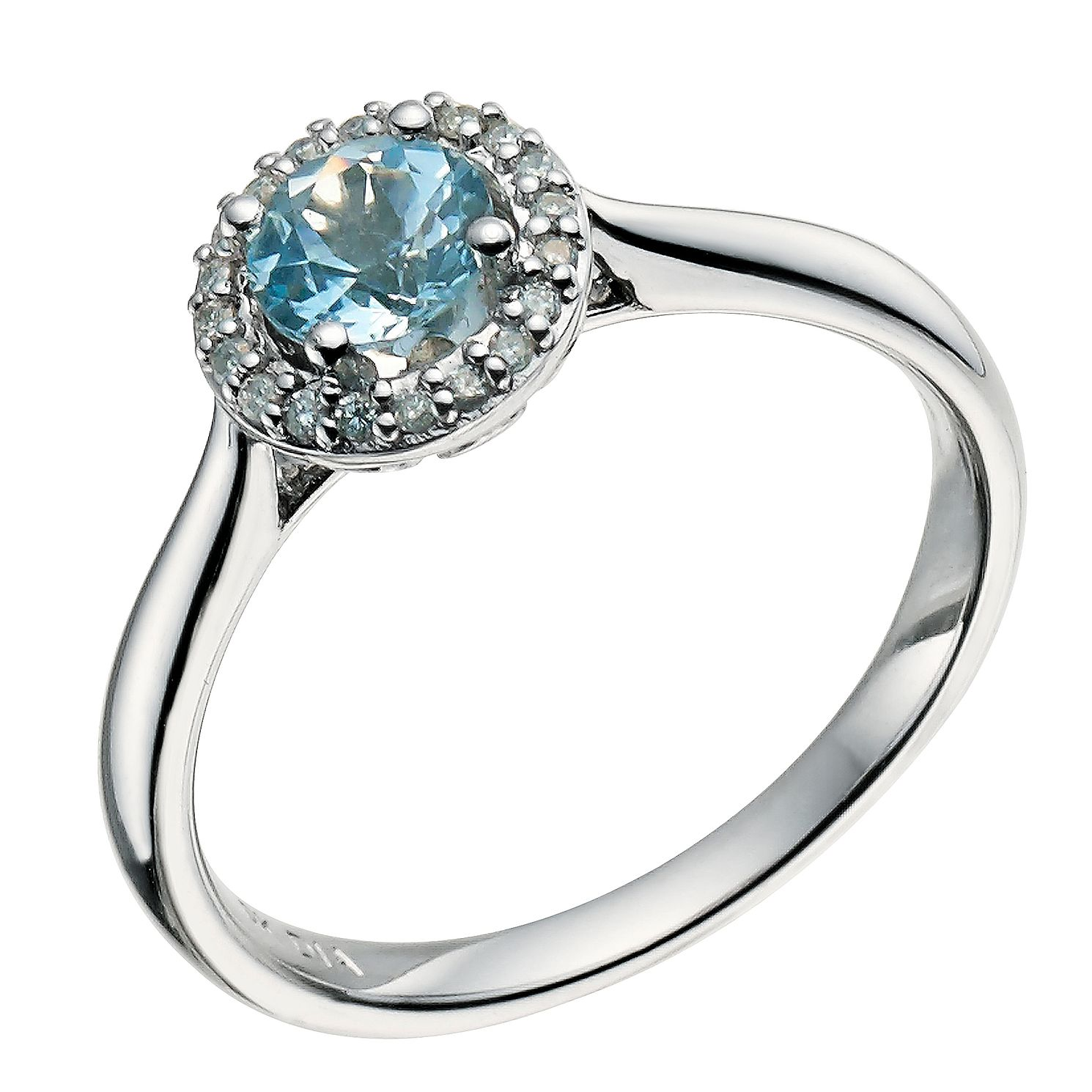 9ct White Gold Blue Topaz & Diamond Halo Ring - Product number 9611975