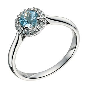 9ct white gold diamond& blue topaz halo ring - Product number 9611975