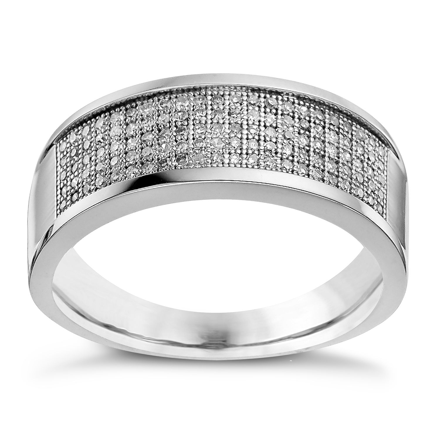 Men's 9ct White Gold 0.30ct Diamond Pave Set 8mm Ring - Product number 9619372
